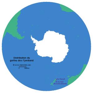 Carte de distribution du gorfou des Fjordland