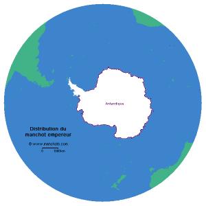 Carte de distribution du manchot empereur