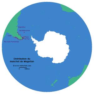 Carte de distribution du manchot de Magellan